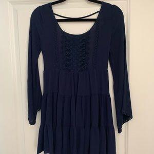Blue Double Zero, open back Bell sleeved dress